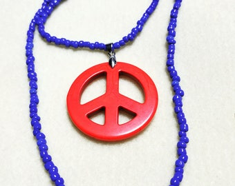 Peace Sign Necklace in Orange and Blue