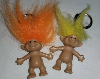 Vintage Troll Key Chains, Troll Pencil Toppers,Set of 2,Troll,Yellow Haired Troll,Orange Haired Troll,Kitsch, Vintage Toys,1980s