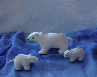 Waldorf Polar Bears-handmade-home decoration-Waldorf gift-wool felt-eco friendly-winter nature table