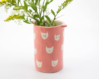 Big tube vase *Pink cats*