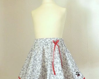 "Skirt ""Marylou"" 6 white girl with grey flowers"