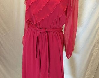 Vintage 60s 70s Retro My Jess Petites Hot Pink Sheer Long Sleeves Dress Ruffles ILGWU Union Tag