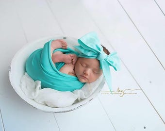 MINT SKY Gorgeous Wrap- headwrap; fabric head wrap; floral head wrap; boho; newborn headband; baby headband; toddler headband