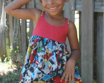 Girls Retro Marvel Avengers Dress, Toddler Dress, Girls Top, Girls Shorts