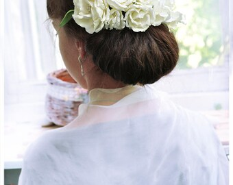 Cream Bridal Hair Vine Hair comb wedding flower branch headpiece Cream Wedding Hair accessory white Bridal Hair piece floral comb flower