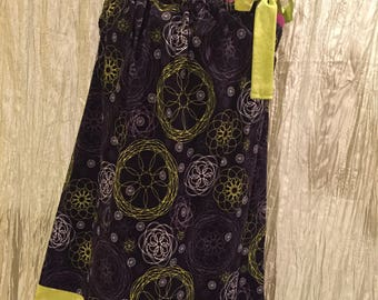Black and Green Floral Pillow Case Dress Size 7 with Matching Hair Bow