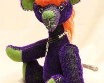 "OOAK artist bear, handmade punk mohair bear by Brierley Bears ""Vyvyan"""