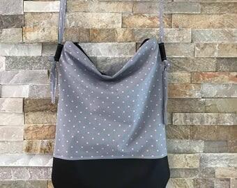 Pink summer - grey polka dot bag shoulder waterproof shoulder adjustable Vegan all use round light Base hand bag