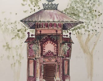 Old Tobacco Store- Sicily Italy- Watercolor Painting *giclée print*