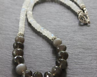 Black and Rainbow Moonstone Necklace