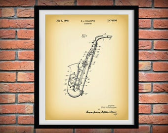 1949 Saxophone Patent Print By Gillespie - Musical Instrument - Brass Horn -  Music Room Art - Marching Band - Jazz Band Gift