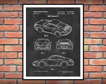 1998 Porsche 911 Patent Print - Sports Car - Porsche Poster - German Sports Car - Auto Collector Decor - Porsche Gift
