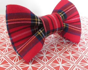 Sottish Plaid Dog Collar Bow Tie, Tartan Dog Bow Tie, Custom Dog Bow Tie, Large Dog Bow Tie, Wedding Dog Bow Tie, Red Tartan Dog Bow Tie