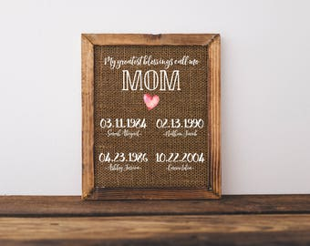 My Greatest Blessings Call Me Mom Print Printable, Personalized Dates Names Print, 4 Names, 8x10, Customize, Christmas Gift, Gift For Her