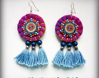 Mexican style earrings-purple