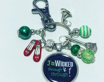 Wicked keyring, Wicked keychain, I'm wicked through and through, Wizard of Oz, handmade keyring, Wicked Musical