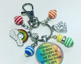 "Rainbow friend keyring, rainbow friend keychain, ""A friend is like a rainbow.  They brighten up your life when you've been through a storm"""
