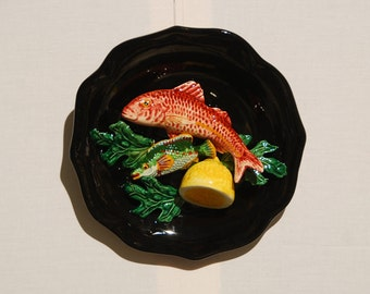 Vallauris Palissy French  glazed majolica, relief detail of 2 fish, half lemon and leaves. 1950s majolica.