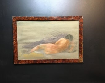 Vintage French pastel, back view of nude woman lying on couch. Some wear and tear on this pretty pastel. Nice veneer frame.