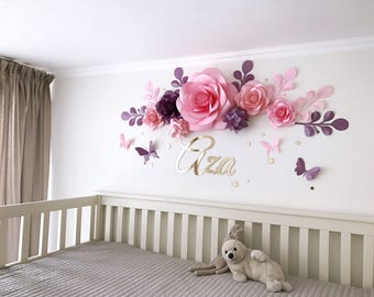 Nursery Paper Flowers - Paper flowers over the crib - Baby Girl Room Paper Flowers - Baby Room Wall Decor (code:112)
