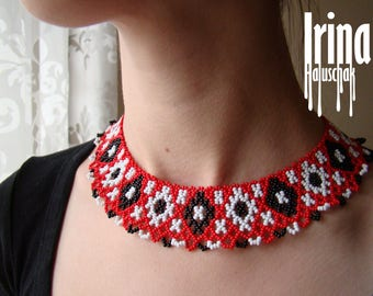 Red White Black Folk Ukrainian necklace to vyshyvanka Sylianka Gerdan Beaded necklace Bead necklace