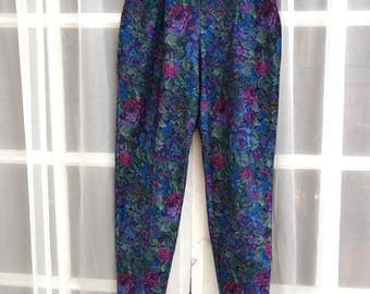 Blue Velveteen Floral Riding Pants // Purple Floral Printed Stirrup Pants // Velvety Riding Pants // Size Small