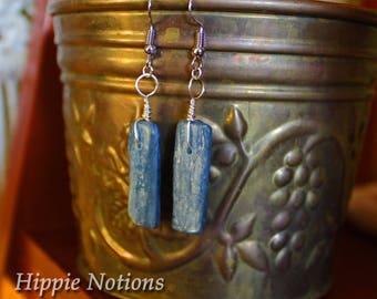 Blue Kyanite Earrings, Sterling Silver