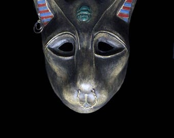 "Cat Goddess Mask ""Bastet"" (Gold) ÷ Paper Mask"