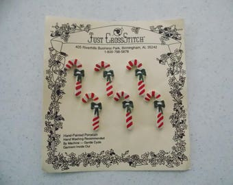 Candy Canes - Christmas - Hand Painted Porcelain Ceramic Buttons