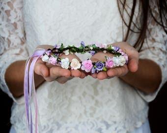 Flower hair crown, Pink purple rose, Flower girl circlet, Violet wedding accessories, Rose headpiece, White Floral hair wreath, Photo prop