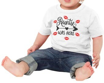 Auntie Was Here Baby One Piece Bodysuit Toddler Tee T Shirt Creeper Kisses Lips Shower Gift Idea Cute Niece Nephew Girl Boy Valentines