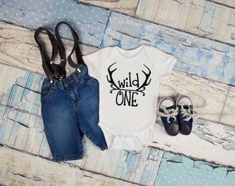 Wild One Boy First Birthday Baby Toddler One Piece Bodysuit Top T Shirt Tee 1st Antlers Deer Gift Idea Clothing Infant Funny