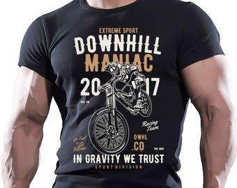 Extreme Sport. Dawnhill Maniac. Men's black cotton T-shirt.
