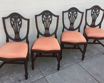 Antique Set of Four Hepplewhite Shield Back Chairs Prince of Wales Plumes Silk Upholstery Professionally Restored