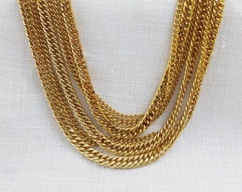 Multi Strand Chain Link Necklace Gold Tone Necklace Vintage Necklaces