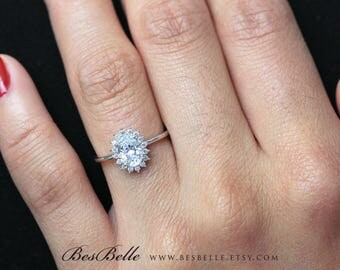 1.06 ct.tw Oval Halo Engagement Ring-Oval Cut Diamond simulant-Bridal Ring-Wedding Ring-Solid Sterling Silver [6554]