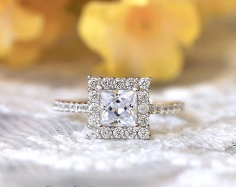 1.48 ct.tw Square Halo Engagement Ring-Princess Cut Center Diamond Simulant-Bridal Ring-Wedding Ring-Promise Ring-Sterling Silver [53327-1]