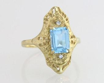 Estate Filigree 14K Yellow Gold 1.50ct Genuine Diamond & Blue Topaz Ring