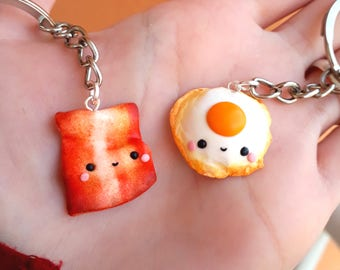 Egg and Bacon Breakfast Friendship necklaces Couple BFF best friends Valentine's day