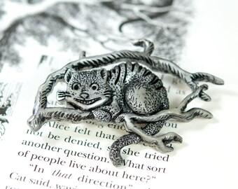 Silver Cheshire Cat Pin, Alice in Wonderland Pin, Alice in Wonderland Brooch, Cheshire Cat Brooch, Cheshire Cat Jewelry, Wonderland Jewelry