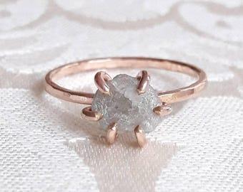 Rough White Diamond Engagement Ring - White Diamond Ring - Rough Diamond Ring - Raw Diamond Ring - Raw Stone Ring - Boho Engagement Ring