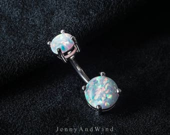 belly ring belly button ring belly jewelry white fire opal silver belly button ring simple base 14g 8mm ~belly-doubleopal