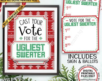 Ugly Christmas Sweater Party Voting Sign and Ballots, Vote for the Ugliest Christmas Sweater Party, Instant Download PRINTABLE Sign/Ballots