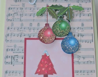 Glitter bauble Christmas card