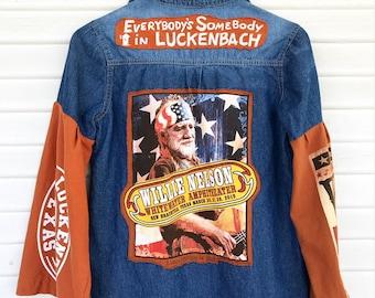Willie Nelson - Luckenbach Texas - Upcycled Denim Jacket - Repurposed Clothing - Size MEDIUM