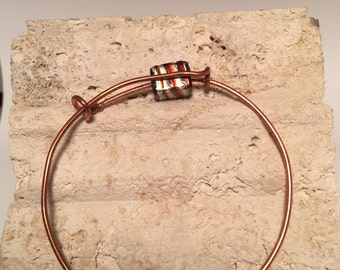 Copper Wire Bracelet with Foil Bead