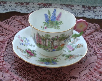 Aynsley Bone China - Flower Handled Vintage English Embossed Tea Cup and Saucer - Multifloral and Scenic with Pink Flower Handle