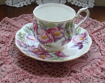 """Royal Albert Hand Painted Flower of the Month Series """"Dog Rose"""" - No. 6 June - Bone China England - Vintage Tea Cup and Saucer"""