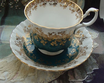 """Royal Albert - Regal Series """"Teal"""" - Bone China England - Vintage Tea Cup and Saucer -  Teal Band with Gold Scroll and Trim"""
