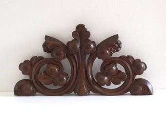Antique Carved Wood Pediment with Foliage Decor